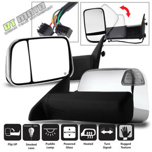 Left Right 2009 2012 Ram Power Heated Led Puddle Signal Tow Flipup Chrome Mirror