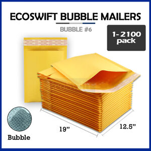 1 2100 6 12 5x19 ecoswift Kraft Bubble Mailers Padded Envelope Bags 12 5 X 19