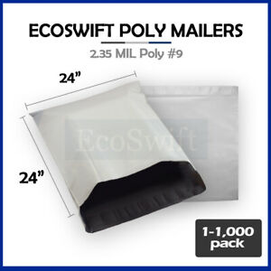 1 1000 24 X 24 ecoswift Poly Mailers Envelopes Plastic Shipping Bags 2 35 Mil