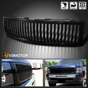 For 2007 2013 Chevy Silverado 1500 Black Vertical Front Hood Grille Cover Set