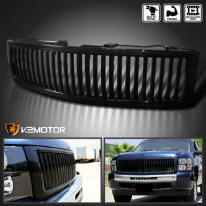 2007 2013 Chevy Silverado 1500 Black Vertical Front Hood Grille Grill Cover Set