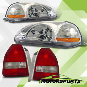 For 1996 1998 Honda Civic 3dr Hatchback Chrome Headlights Jdm Red Tail Lamps