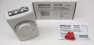 70tw Broan Nutone Line Voltage Fan Ventilator Wall Thermostat