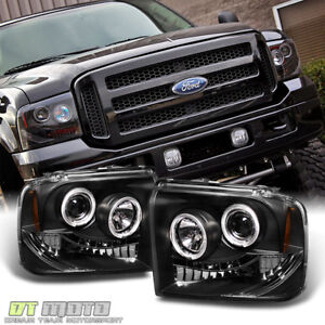 Black 2005 2006 2007 Ford F250 f350 f450 Superduty Led Halo Projector Headlights