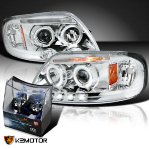 97 03 Ford F150 Clear Led Halo Projector Headlights Head Lamps h3 Halogen Bulbs