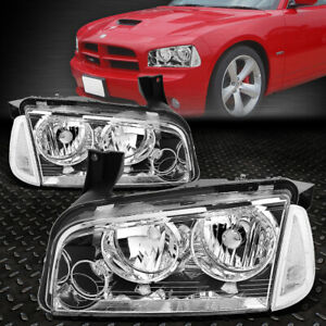For 06 10 Dodge Charger Chrome Housing Clear Corner Headlight Replacement Lamps