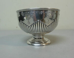 19th C English Walker Hall Sterling Silver 4 Pedestal Bowl C 1896