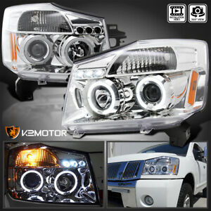 Led Halo Projector Headlights Chrome For 2004 2015 Nissan Titan 2004 2007 Armada
