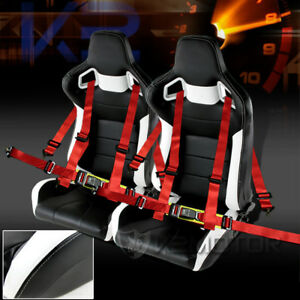 Jdm Speed Racing Seats Reclinable Style Black And White Seat Belt Harness Red