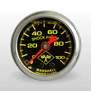 Lt1 Ls1 Tpi Fuel Pressure Gauge Liquid Filled 100 Psi Silver black yellow
