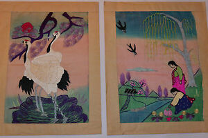 2 Vintage Oriental Embroidery On Silk Artworks Colorful Birds People