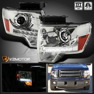 2009 2014 Ford F150 F 150 Crystal Led Strip Projector Headlights Pair