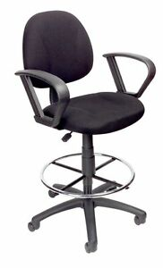 Boss Office Products Black Drafting Stool With Footring And Loop Arms B1617 bk
