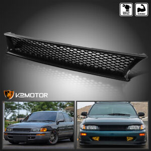 For 1993 1997 Toyota Corolla Abs Black Front Bumper Hood Mesh Grill Grille