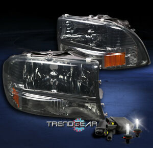 1997 2004 Dodge Dakota 1998 2003 Durango Crystal Smoke Headlight W 8k Xenon Hid