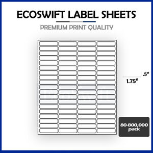 80 800 000 1 3 4 X 1 2 Ecoswift Laser Address Shipping Adhesive Labels 80 sheet
