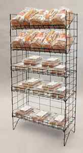 Floor Adjustable Wire Shelf Display Rack 5 Tier black