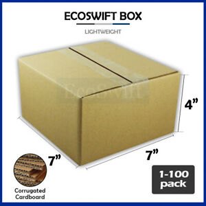 1 100 7x7x4 ecoswift Cardboard Packing Mailing Shipping Corrugated Box Cartons