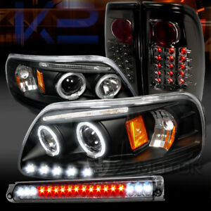 For 1997 2003 F150 Black Halo Projector Headlights smoke Led Tail Lamp 3rd Brake