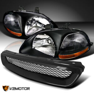 For 1996 1998 Honda Civic Black Headlights Lamps Abs T R Front Mesh Hood Grille