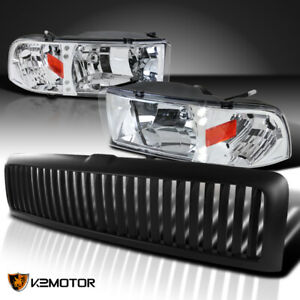 Dodge 94 01 Ram 1500 Chrome Led Headlights black Vertical Grille