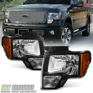 Black 2009 2014 Ford F150 Replacement Headlights Lamps Aftermarket Left Right