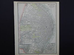 City Of St Louis Missouri And Kansas City 1901 Double Sided Map W17 81