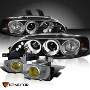 Fit 1992 1995 Civic 4dr Black Halo Led Projector Headlights Yellow Fog Lamps