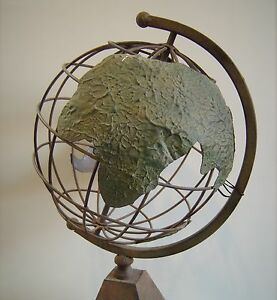 Large Metal Industrial World Globe On Stand