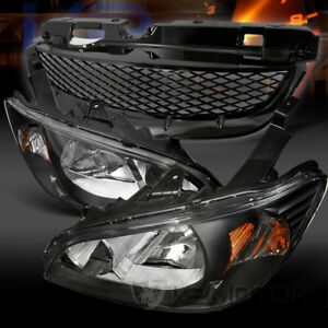 For 2004 2005 Honda Civic Black Crystal Headlights T R Front Hood Mesh Grille