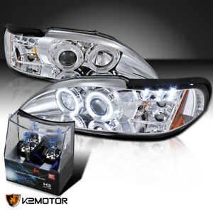 1994 1998 Ford Mustang Chrome Led Halo Projector Headlights H3 Halogen Bulbs