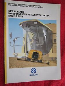 1994 New Holland Tf78 Elektra Combine 20pg Brochure french Text