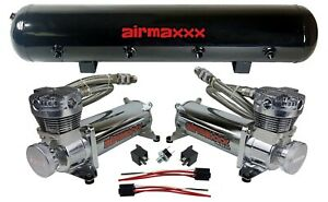 Airmaxxx 480 Dual Chrome Compressors 5 Gallon Tank Air Bag Suspension 200psi Kit