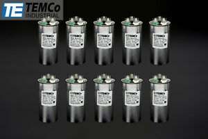Temco 35 5 Mfd Uf Dual Run Capacitor 370 440 Vac Volts 10 Lot Ac Motor Hvac 35 5