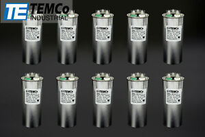 Temco 45 5 Mfd Uf Dual Run Capacitor 370 440 Vac Volts 10 Lot Ac Motor Hvac 45 5