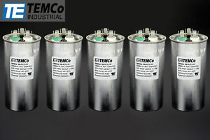 Temco 60 5 Mfd Uf Dual Run Capacitor 370 440 Vac Volts 5 Lot Ac Motor Hvac 60 5