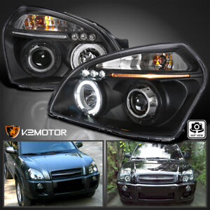 For Hyundai 2005 2009 Tucson Led Halo Projector Headlights Black Left Right