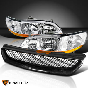 For 1998 2002 Honda Accord 2dr Clear Headlights Lamps Black Mesh Hood Grille