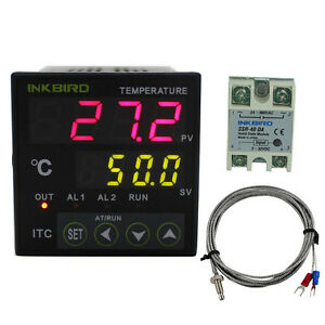 24v Ac Dc Digital Temperature Pid Temp Controller K Sensor Probe 40da Ssr