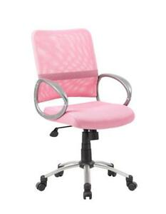 Boss Office Products Boss Mesh Back W Pewter Finish Task Chair Mesh Pink Pewter