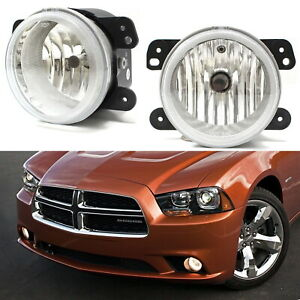 Complete Set Clear Lens Fog Lights W Bulbs For Jeep Wrangler Dodge Charger Etc