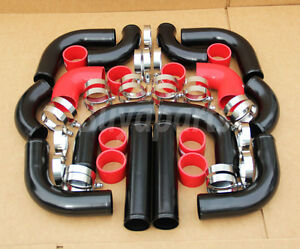 2 5 12pc Aluminum Turbo Intercooler Piping Kit Black Red Silicone Couplers