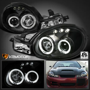 For 2000 2002 Dodge Neon Black Led Halo Projector Headlights signal Lamps Pair