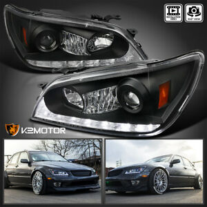 For 2001 2005 Lexus Is300 Black Projector Headlights Lamps Led Strip Pair 01 05