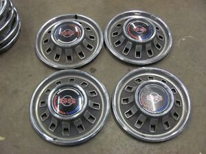 Set Of 4 1967 67 Chevy Impala Ss 14 Hubcaps Driver Shape Hub Caps