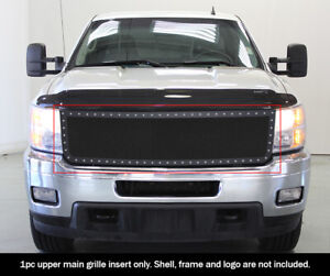 Fits 2011 2014 Chevy Silverado 2500 3500 Hd Stainless Black Mesh Rivet Grille