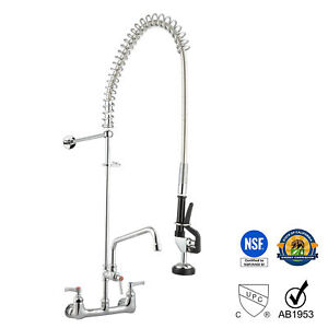 New Commercial Kitchen Restaurant Pre rinse Faucet Swivel With 12 Add on Faucet