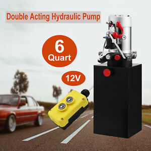 6 Quart Double Acting Hydraulic Pump12v Dump Trailer Power Unit 3200 Psi Us