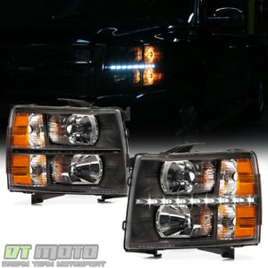 Black 2007 2013 Chevy Silverado 1500 2500hd 3500hd Led Drl Headlights Left Right