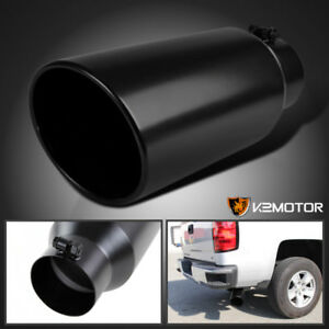 4 Inlet 6 Outlet 15 Long Black Stainless Steel Roll Edge Truck Exhaust Tip